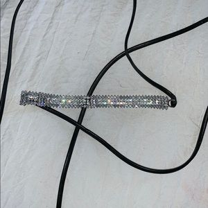 Jewelry - Crystal and leather choker